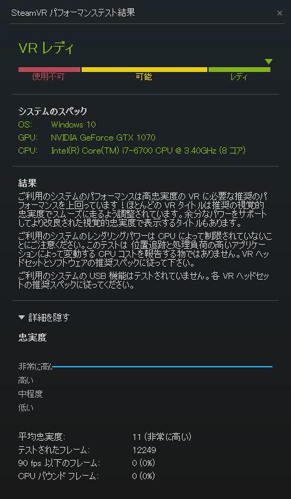 SteamVRパフォーマンステスト GTX1070